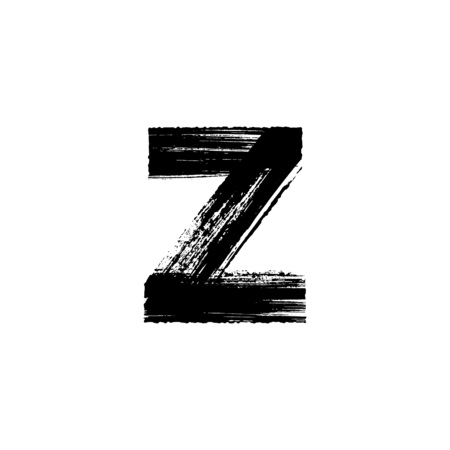 Lowercase vector letter z hand-drawn with dry brush
