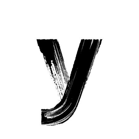 dry brush: Lowercase vector letter y hand-drawn with dry brush