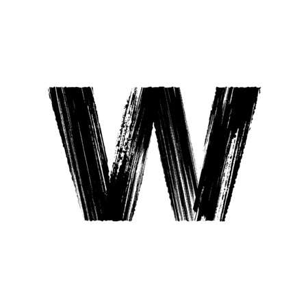 Lowercase vector letter w hand-drawn with dry brush Illustration