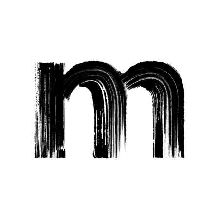Lowercase vector letter m hand-drawn with dry brush
