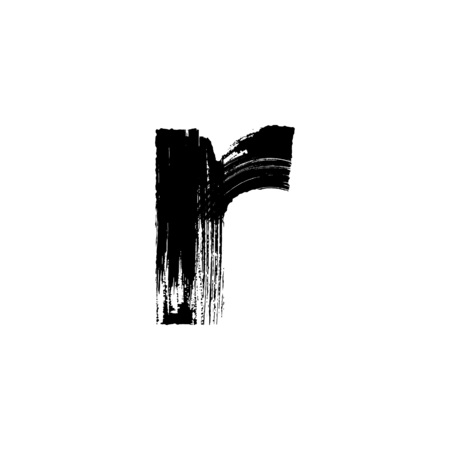 dry brush: Lowercase vector letter r hand-drawn with dry brush Illustration