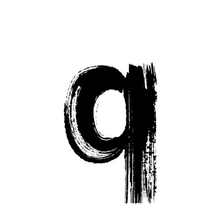 dry brush: Lowercase vector letter q hand-drawn with dry brush
