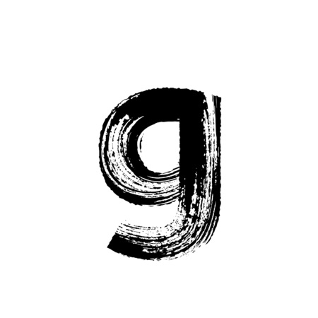 g: Lowercase vector letter g hand-drawn with dry brush