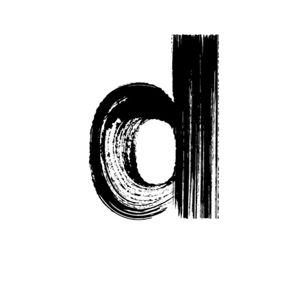 Lowercase vector letter d hand-drawn with dry brush Illustration