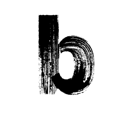 dry brush: Lowercase vector letter b hand-drawn with dry brush Illustration