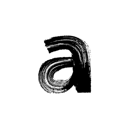 dry brush: Lowercase vector letter a hand-drawn with dry brush