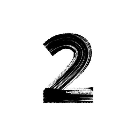 numero di vettore a due 2 disegnati a mano con pennello asciutto Vettoriali