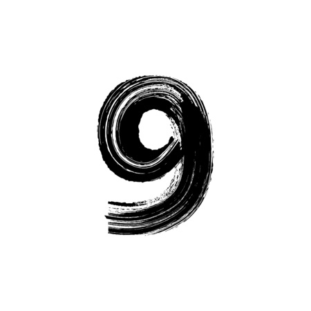 Vector number Nine 9 hand-drawn with dry brush