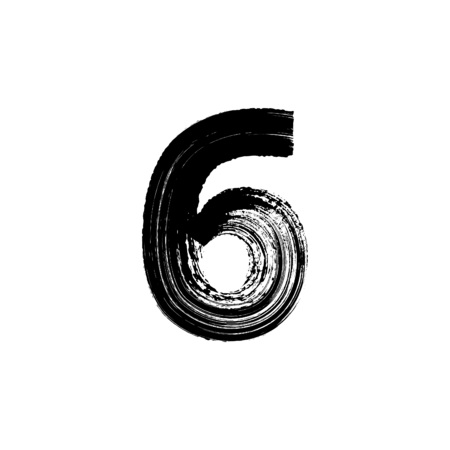 number six: Vector number Six 6 hand-drawn with dry brush