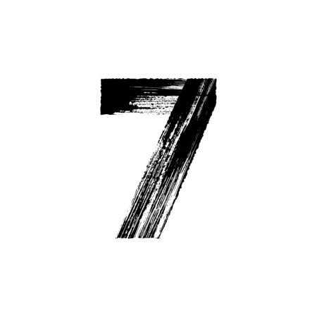 calligraphic: Vector number Seven 7 hand-drawn with dry brush Illustration