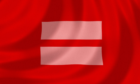 gay male: Gay equality flag with sign of equality Stock Photo