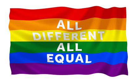 boda gay: Gay bandera de la igualdad del arco iris con el lema Foto de archivo