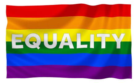 bandera gay: Gay bandera de la igualdad del arco iris con el lema Foto de archivo