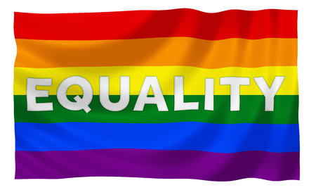 gay male: Gay rainbow equality flag with slogan Stock Photo