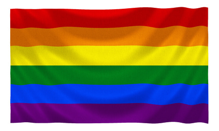 Gay rainbow equality flag fluttering