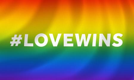 amor gay: Bandera de la igualdad del arco iris gay que agita con lovewins hashtag