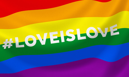 Fluttering gay rainbow equality flag with hashtag loveislove