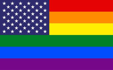 bandera gay: Bandera de EE.UU. con las rayas del arco iris de fondo