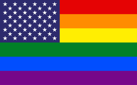 gay marriage: USA flag with rainbow stripes background Illustration