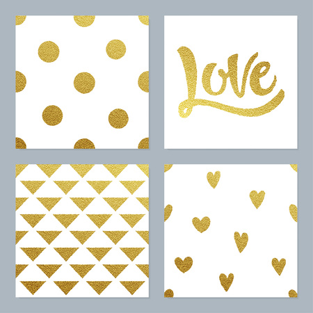 shiny hearts: Gold glitter patterns set with dots, hearts, triangles and hand written Love lettering on white background