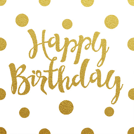 card: Happy Birthday card with design of gold letters on white background