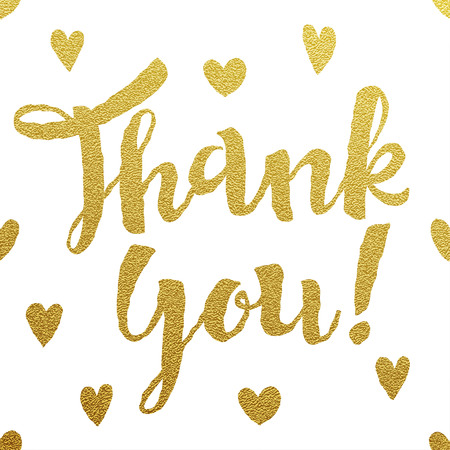 Thank You card with design of gold letters on white background Ilustração