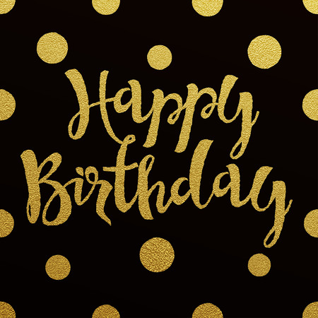 hand with card: Happy Birthday card with design of gold letters on black background