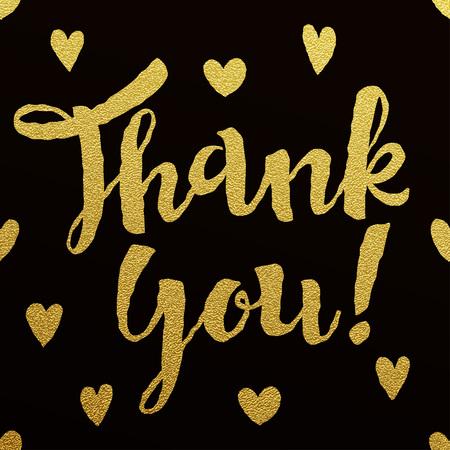 Dank u de kaart met het ontwerp van de gouden letters op een zwarte achtergrond Stockfoto - 43829630