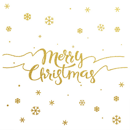 gold ornaments: Merry Christmas card with design of gold letters on white background Illustration