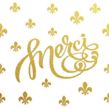 merci: Merci card with design of gold letters on white background Illustration