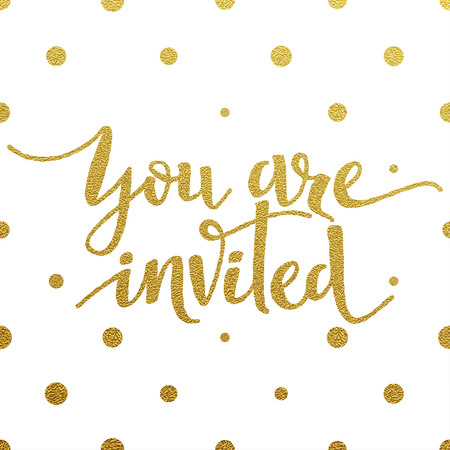 You Are Invited card with design of gold letters on white background Vectores