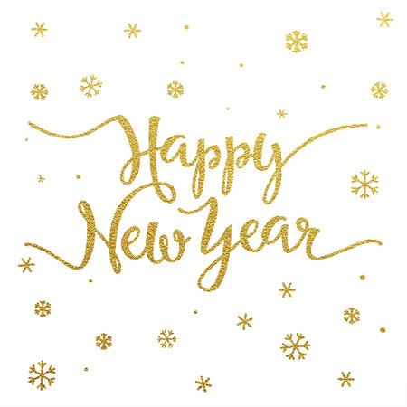 Feliz tarjeta de Año Nuevo con diseño de letras de oro sobre fondo blanco Vectores