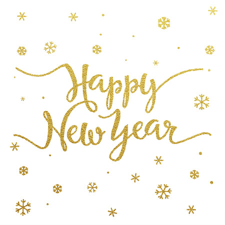 type: Happy New Year card with design of gold letters on white background