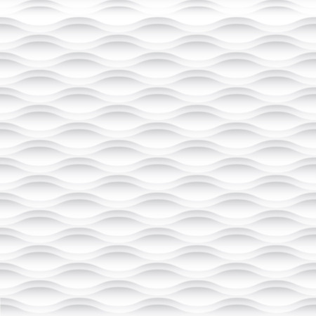 design interior: White seamless texture. Wavy background. Interior wall decoration. 3D Vector interior wall panel pattern. Vector white background of abstract waves. Illustration