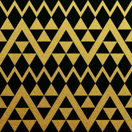 black and gold: Gold glittering seamless pattern of triangles on black background