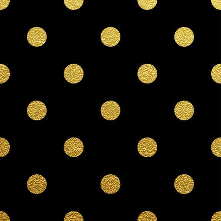 黒の背景に金きらびやかな水玉シームレス パターン