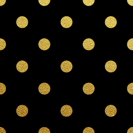 Gold glittering polka dot seamless pattern on black background Ilustracja