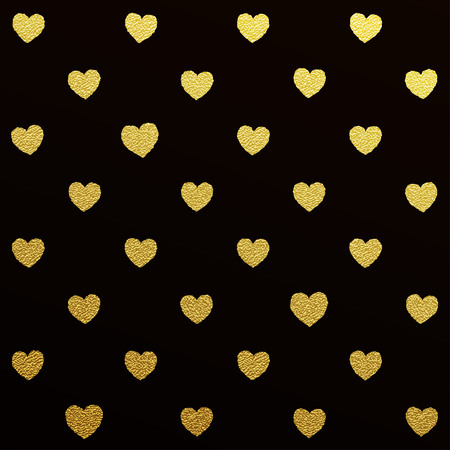 Gold glittering seamless pattern of hearts on black background
