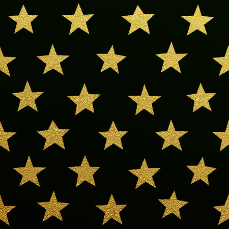 Gold glittering stars pattern on black background