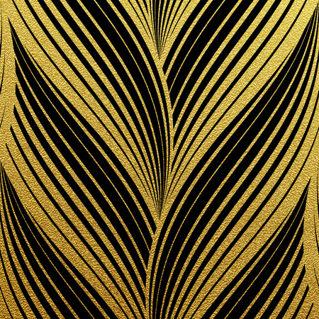 Gold glittering abstract waves pattern. Seamless texture with gold background