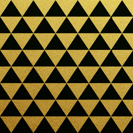 Gold glittering seamless pattern of triangles on black background