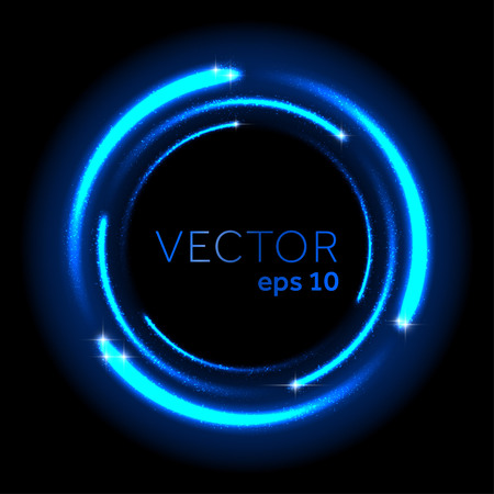 Neon blue glittering star dust spiral. Vector illustration