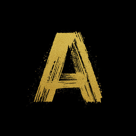 expressive style: Gold glittering letter A in brush hand painted style