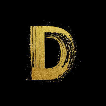 d: Gold glittering letter D in brush hand painted style Illustration