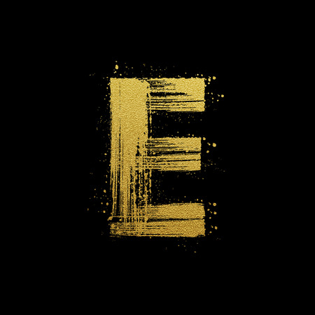 Gold glittering letter E in brush hand painted style 일러스트