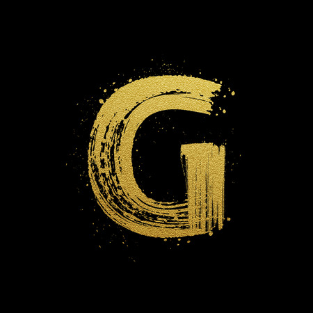scripts: Gold glittering letter G in brush hand painted style