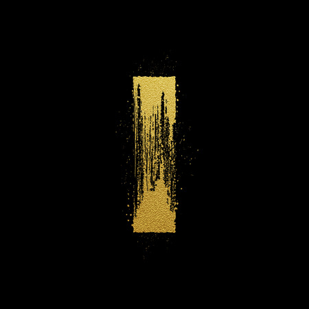 expressive style: Gold glittering letter I in brush hand painted style