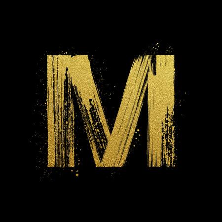 alphabet graffiti: L'oro scintillante lettera M in stile pennello dipinto a mano