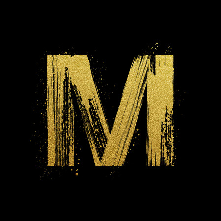 abecedario graffiti: Oro brillante carta M en estilo pintado a mano del cepillo