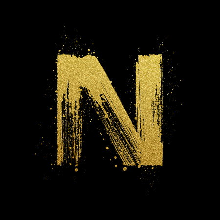 gold alphabet: Gold glittering letter N in brush hand painted style